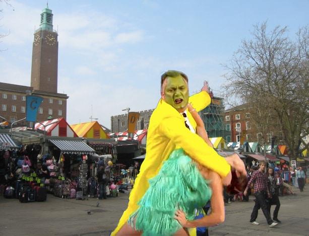 Ed Balls clown attack in Norwich
