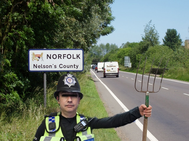 Norfolk Police pitchforks