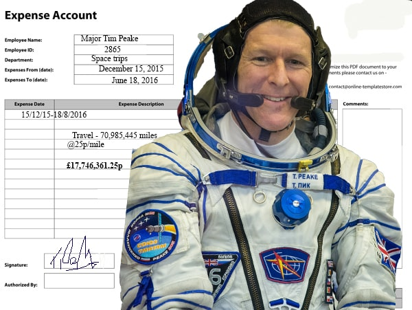 Major Tim Peake expenses raise eyebrows
