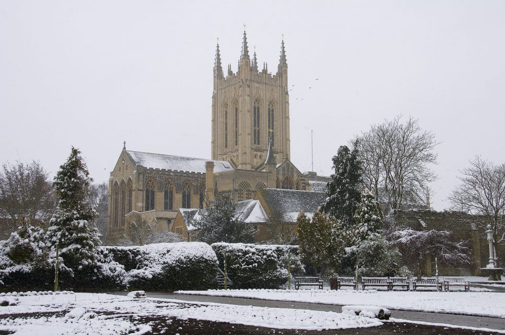 Snow in Bury St Edmunds, Suffolk