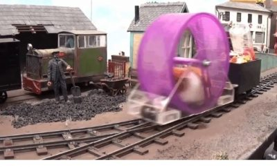 Hamster-powered train