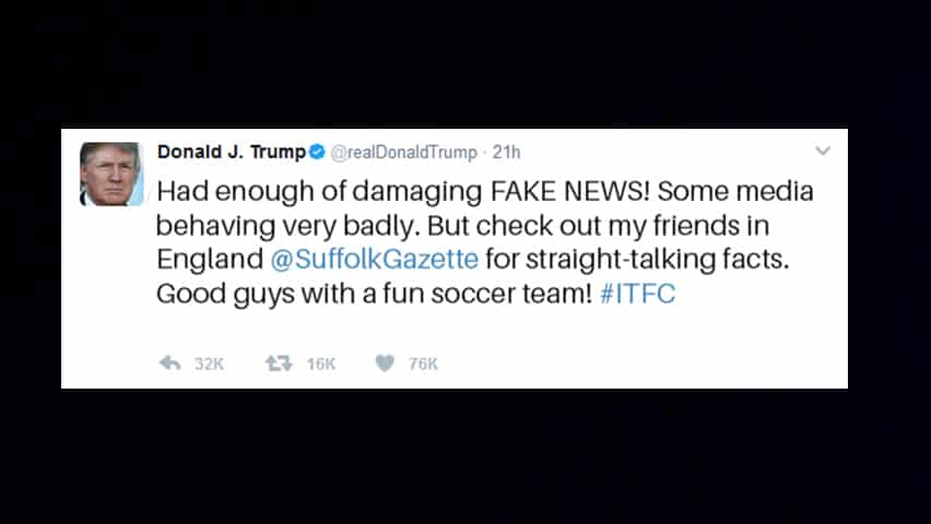 Donald Trump has sent a Tweet admiring the Suffolk Gazette