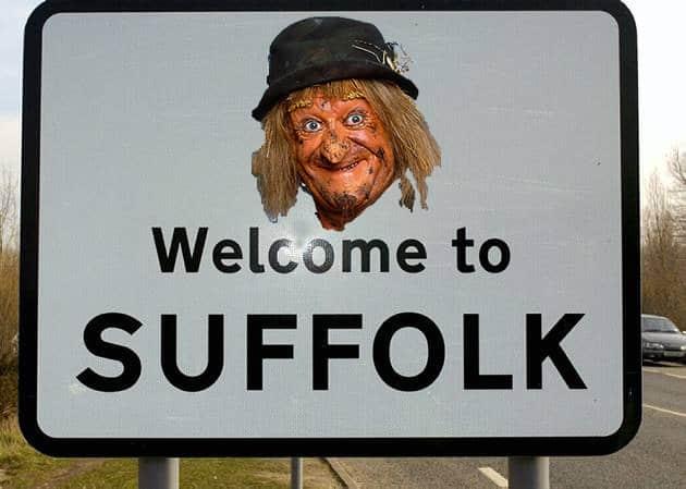 Worzel Gummidge Suffolk road sign