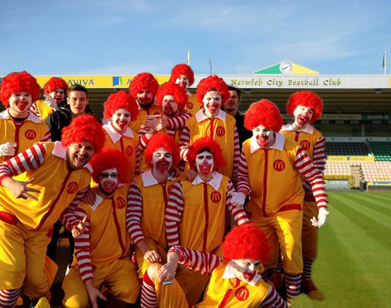 Norwich City clowns
