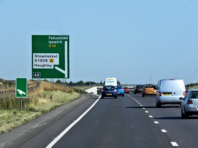 A14 in Suffolk