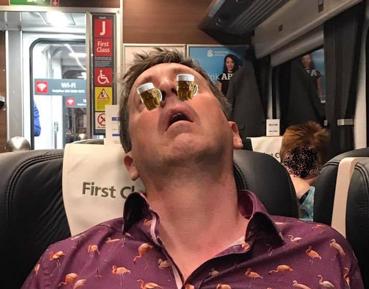 Commuter sleeps