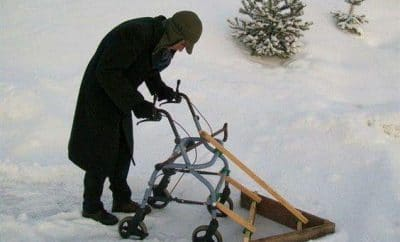 elderly snow plough