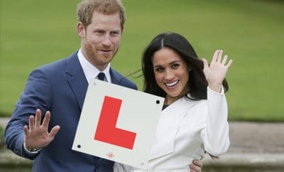 Harry teaching Meghan to drive