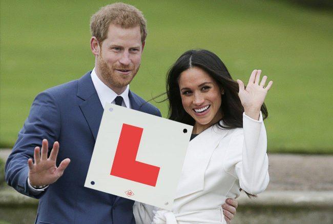 Harry teaching Meghan to drive