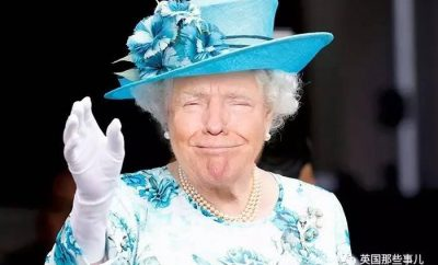 Donald Trump disguised as The Queen